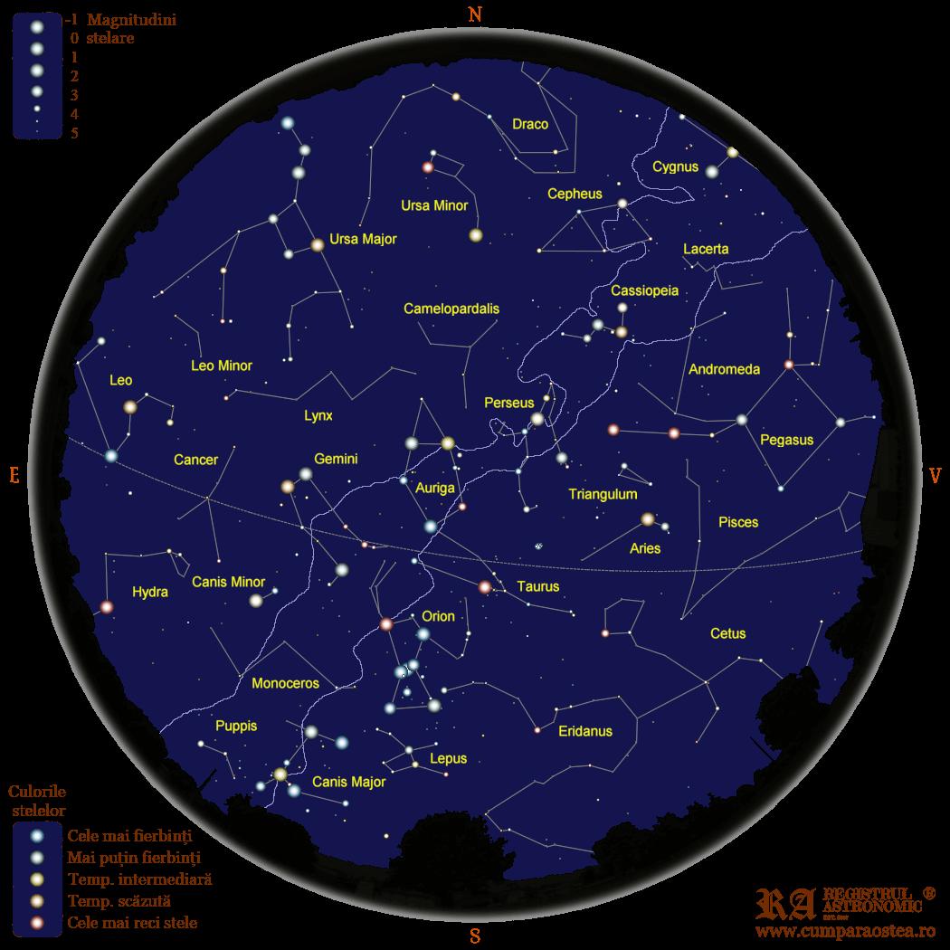 Harta Cerului în Februarie