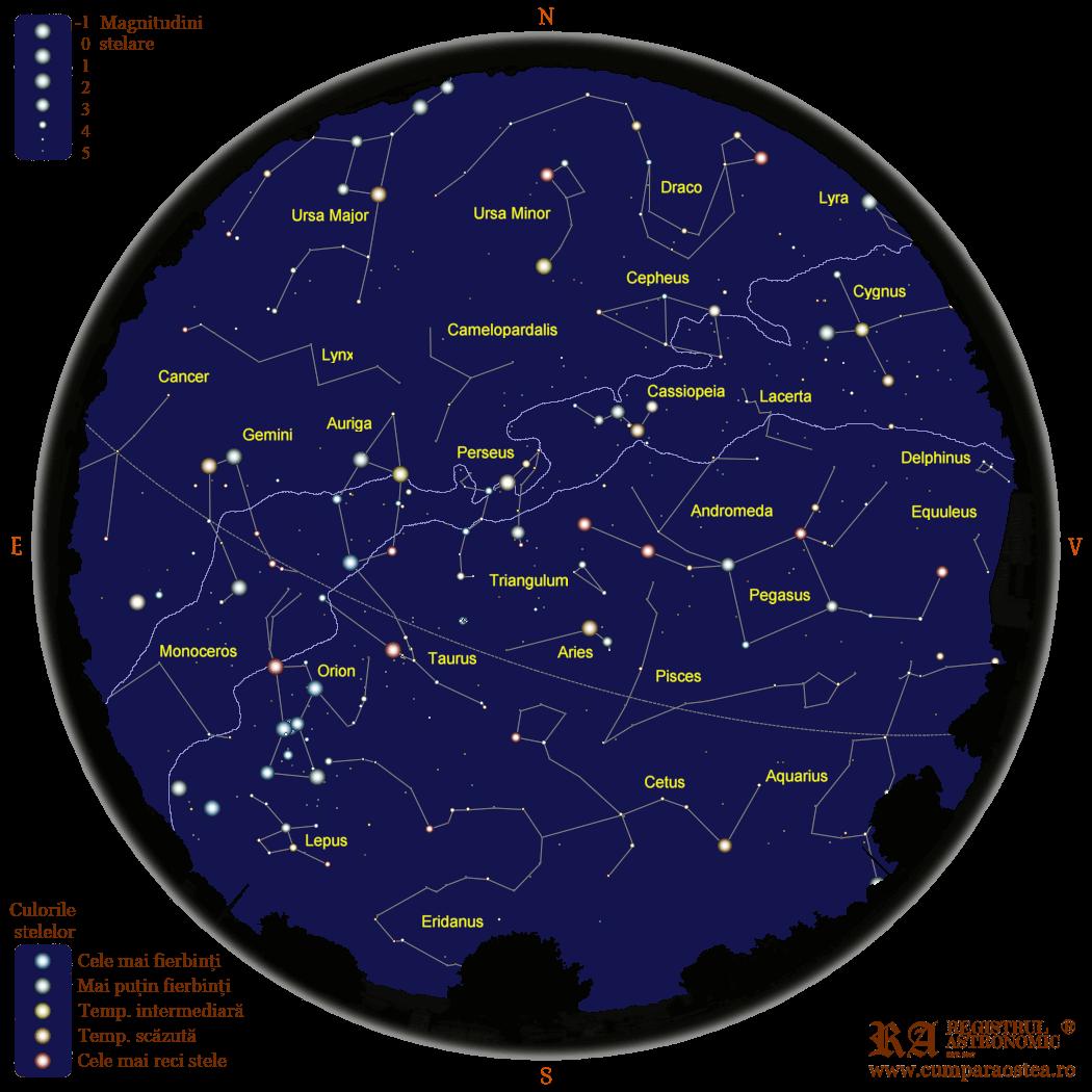 Harta Cerului în Ianuarie