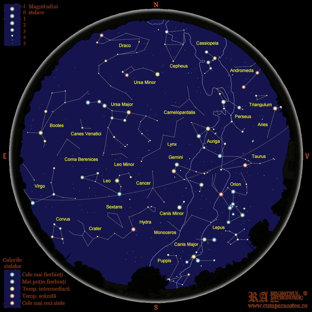 Harta Cerului în Martie